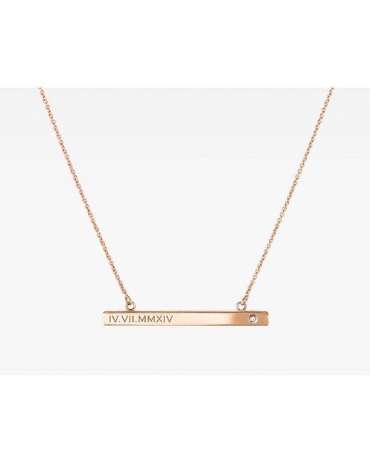 Vrai & Oro | Metallic Bar Necklace With Diamond | Lyst