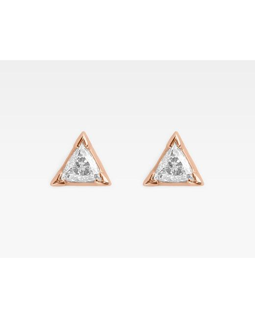 Vrai & Oro | Pink Trillion Diamond Earrings | Lyst