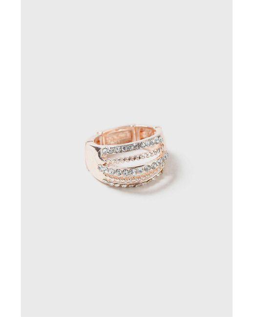 Wallis | Metallic Rose Gold Twist Crystal Ring | Lyst