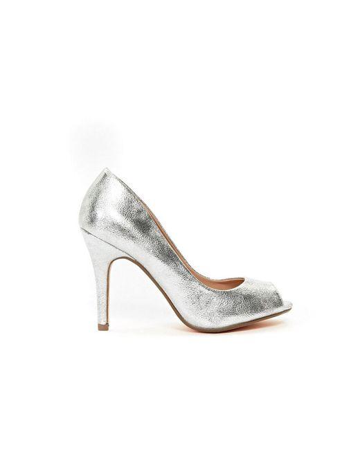 756628166d0 Wallis - Metallic Silver Peep Toe Court Shoe - Lyst ...