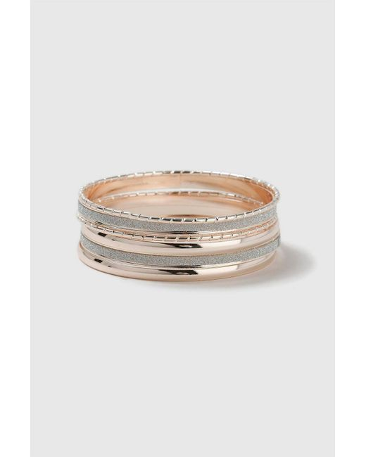 Wallis - Metallic Silver Mixed Metal Bangle Pack - Lyst