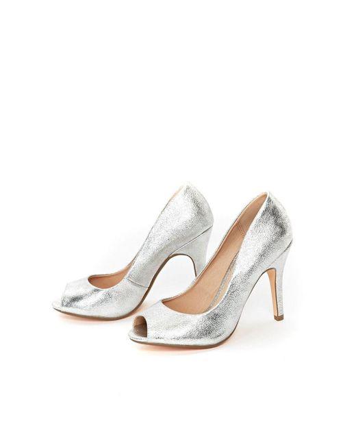 6cb0f15b207 ... Wallis - Metallic Silver Peep Toe Court Shoe - Lyst