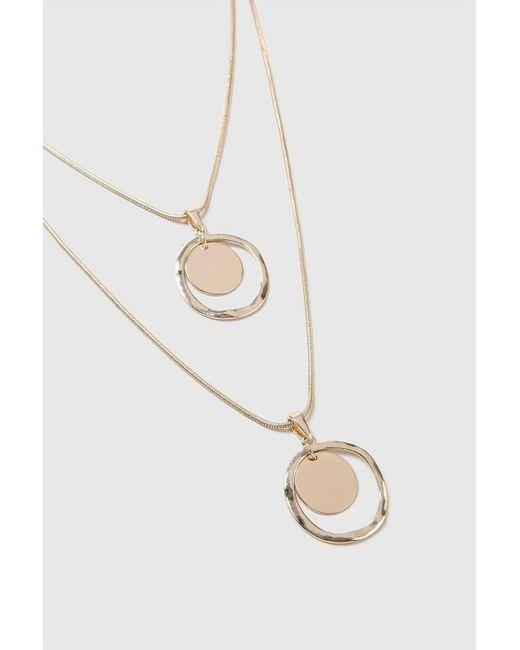 Wallis - Metallic Gold Look Multirow Necklace - Lyst