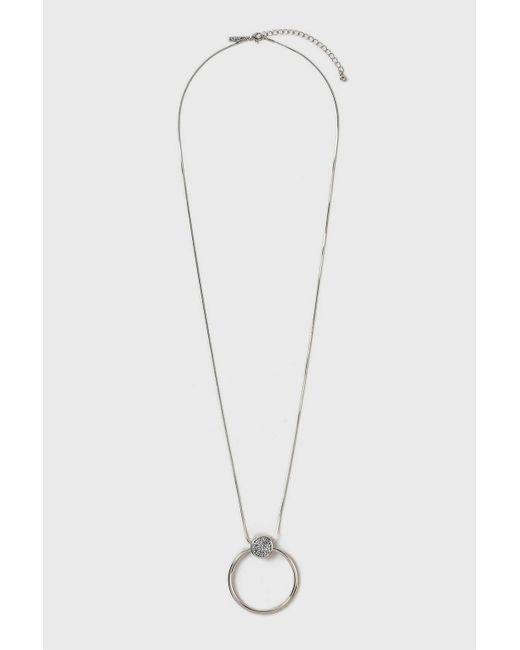 Wallis   Metallic Crystal Ring Facet Long Necklace   Lyst