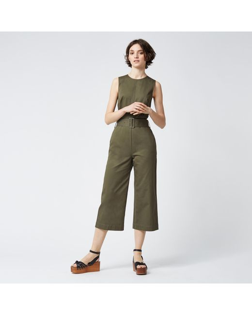 Warehouse | Green Cotton D Ring Jumpsuit | Lyst