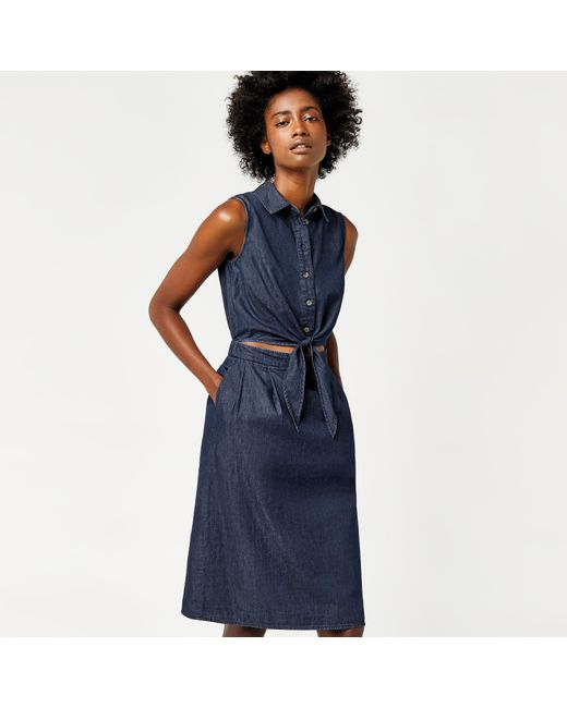Warehouse | Blue Cut Out Tie Front Midi Dress | Lyst