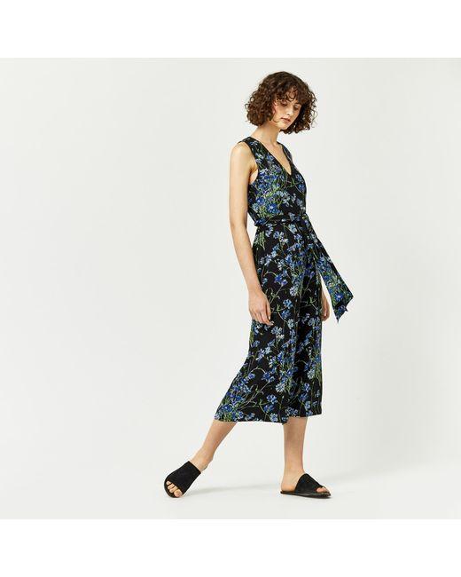 Warehouse   Black Full Bloom Jumpsuit   Lyst