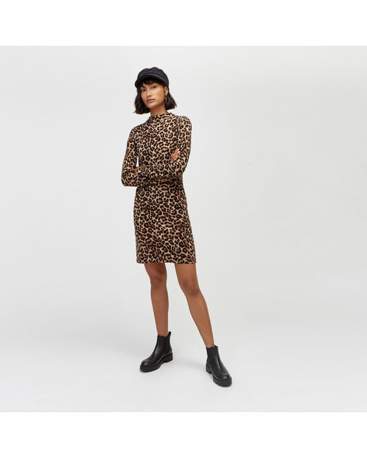 114c869aa771 Warehouse Leopard Print Knit Dress in Brown - Save 21.73913043478261 ...