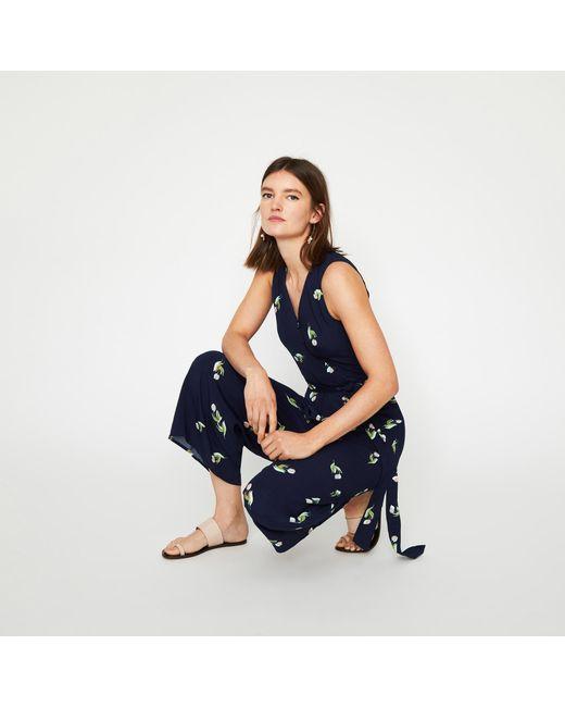 Warehouse - Blue Tulip Print Culotte Jumpsuit - Lyst