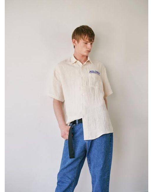 166b3e80c58 A.GLOWW - White Prism Print Half Shirts Ivory for Men - Lyst ...