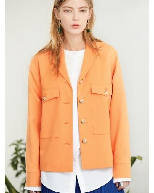 CLUE DE CLARE | Pocket Field Jacket Orange | Lyst