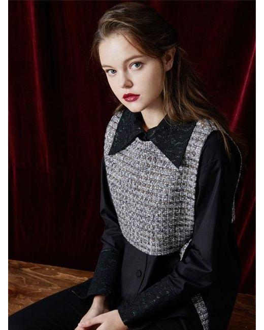 W Concept   Multicolor Short Tweed Vest   Lyst