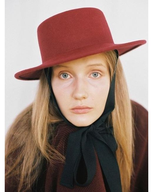 AWESOME NEEDS - Multicolor Lambs Wool Boater Hat_burgundy_face Ribbon - Lyst