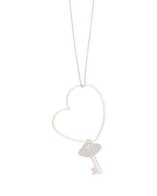 VIOLLINA - Metallic Heart Key Necklace - Lyst