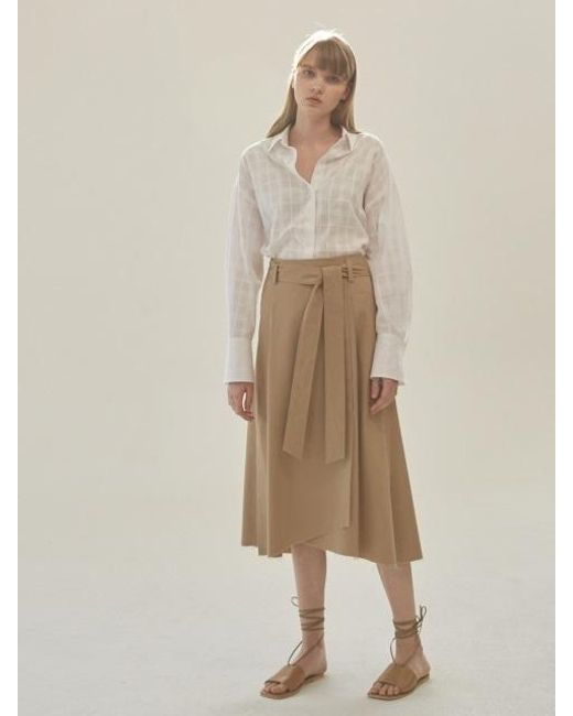 NILBY P - Natural Cotton A-line Wrap Skirt [be] - Lyst