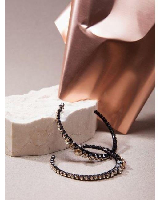 W Concept - Crystal Hoop Earring Aaa068w Black Gold - Lyst