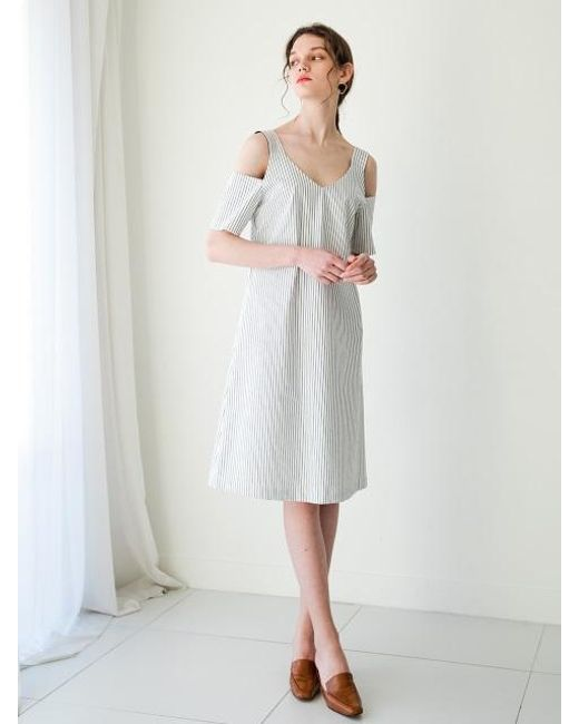 F.COCOROMIZ - White Shoulder Point Stripe Dress - Lyst