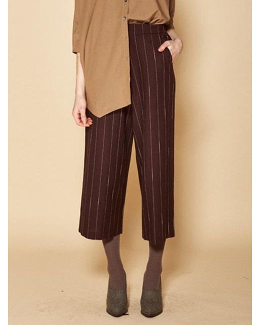 W Concept - Stripe Pants Brown - Lyst