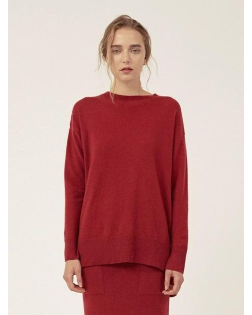 LE CASHMERE - Red Long R Neck Pullover With Slits - Lyst