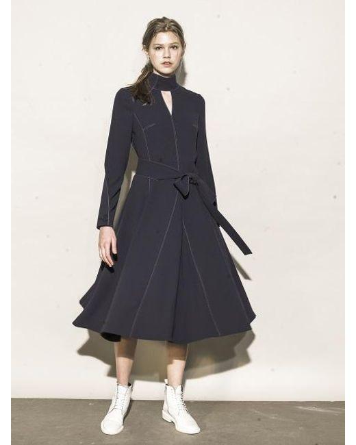 OUAHSOMMET - Blue Choker V-neck Dress_nv - Lyst