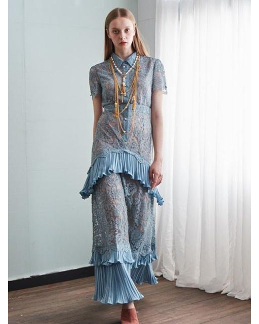 W Concept | Blue Resort Lace Long Dress | Lyst