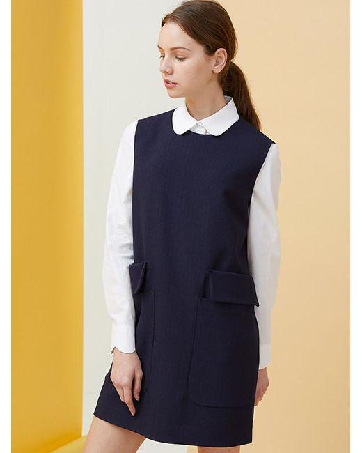 MILLOGREM - Blue Double Pocket Pinstriped Dress - Navy - Lyst