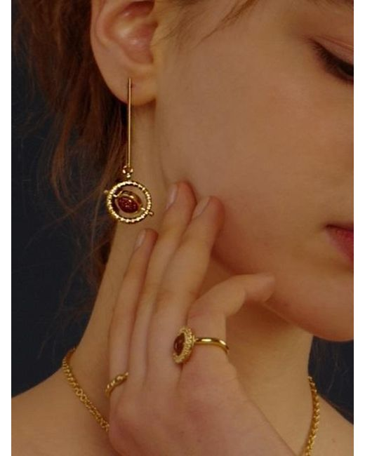 FLOWOOM - Metallic Orbit Earrings Gold - Lyst