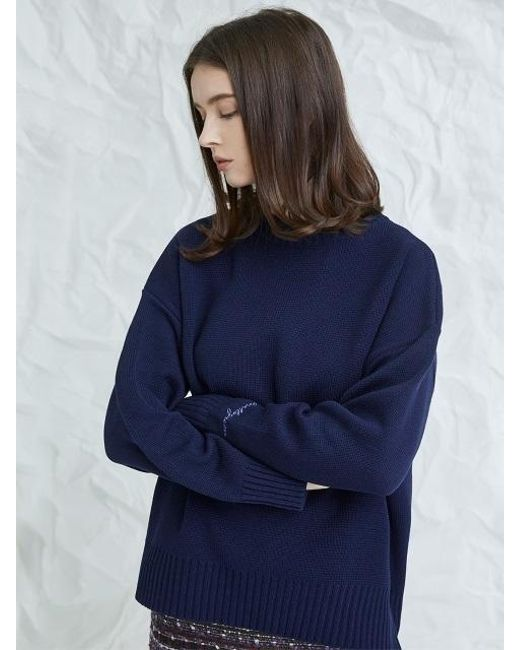 MILLOGREM - Blue Embroideried Cuffs Sweater Navy - Lyst