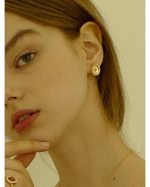 FLOWOOM - Metallic Rose Frame Earrings - Lyst