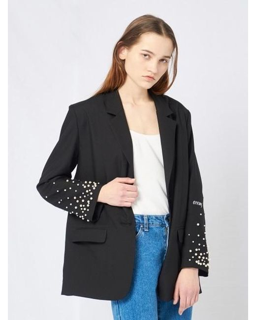 W Concept   Black Pearl Studded Sleeve Jacket   Lyst
