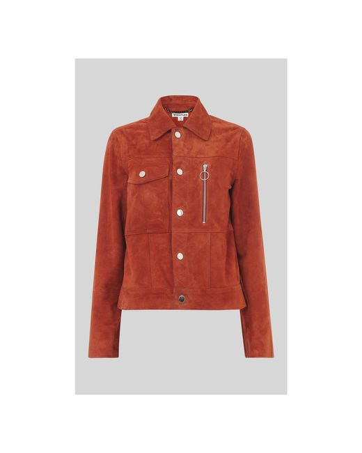 Whistles - Red Patch Pocket Suede Jacket - Lyst