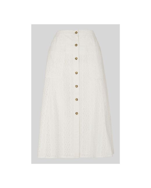 Whistles - White Broderie Button Through Skirt - Lyst