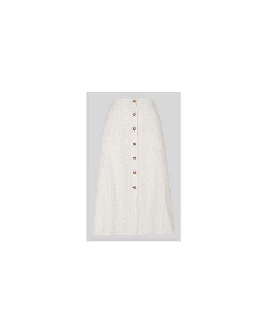 Whistles - White Broderie Button Through Skirt - Lyst