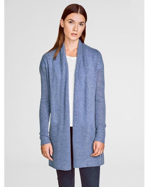 White + Warren - Blue Cashmere Curved Hem Cardigan - Lyst