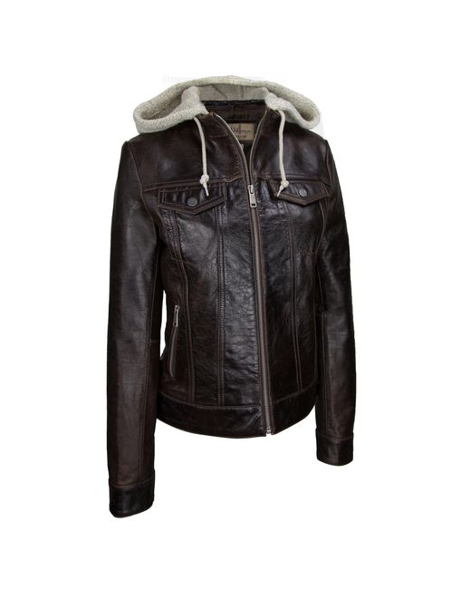 Wilsons Leather - Brown Center Zip Crackle Leather Jacket W/ Hood - Lyst