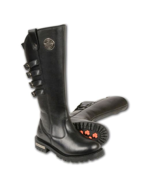 """Wilsons Leather - Black Milwaukee Leather 15"""" High Rise Leather Riding Boot W/ 4 Calf Buckles - Lyst"""