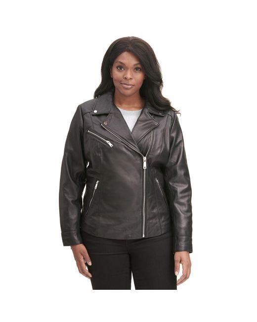 Wilsons Leather - Black Plus Size Designer Brand Asymmetrical Zip Leather Jacket W/ Metallic Details - Lyst