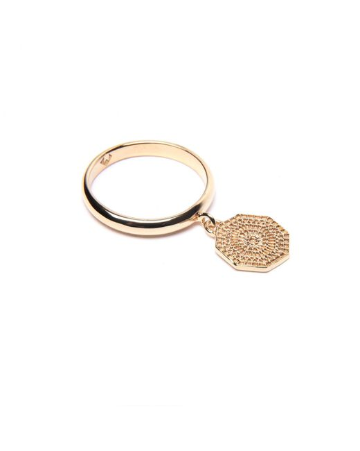 Puck Wanderlust | Metallic Gold Mini Sun Mandala Charm Ring | Lyst
