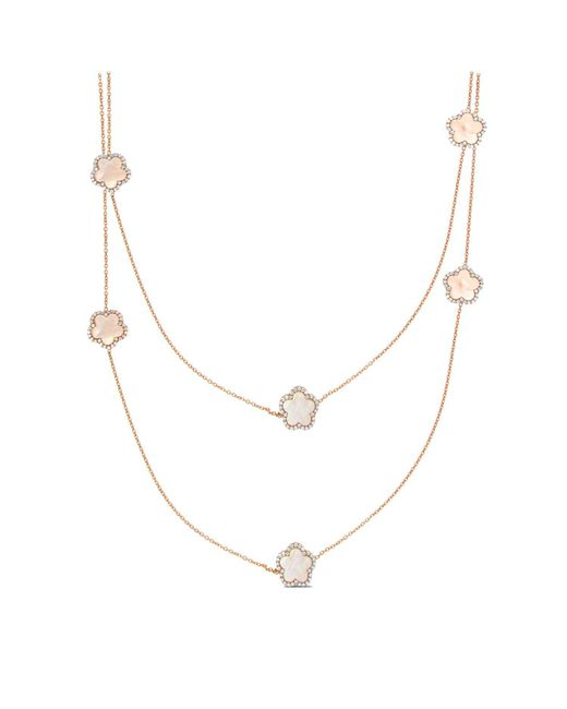 Cosanuova - Metallic Rose Mother Of Pearl Clover Necklace - Lyst