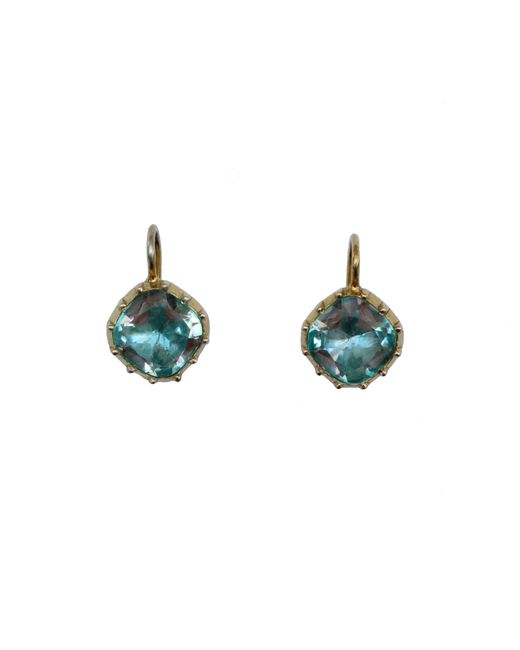 Alexander Quin London | Georgian Style 8mm Cushion Shape Rock Crystal Earrings In Blue | Lyst
