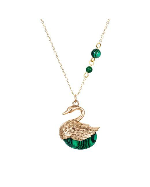 Nadia Minkoff - Metallic Swan Charm Necklace Gold With Malachite - Lyst