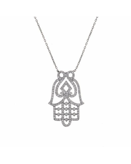 Cosanuova - Metallic White Hamsa Hand Necklace - Lyst