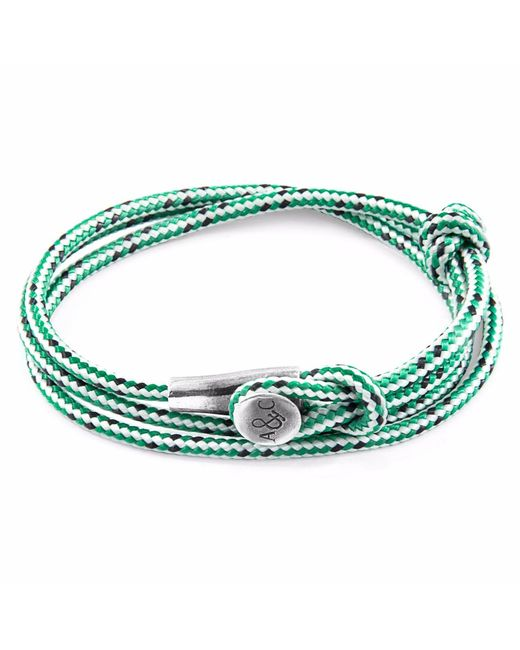 Anchor & Crew | White Green Dash Clyde Silver & Rope Bracelet for Men | Lyst