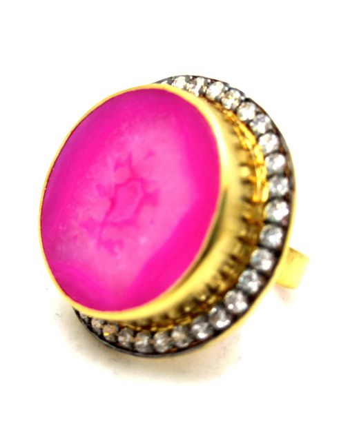 Meghna Jewels - Fuchsia Pink Round Druzy Ring - Lyst