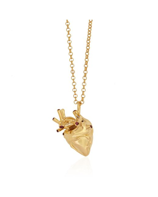 Strange Fruit - Metallic Heart Pendant Gold With Rubies - Lyst