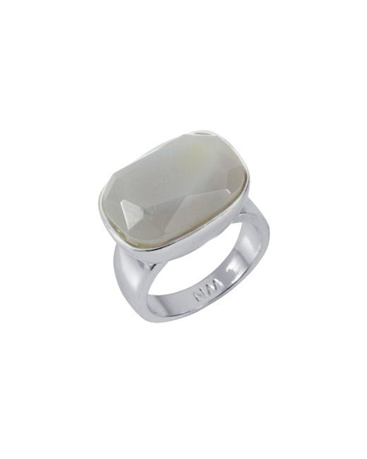 Nadia Minkoff - Metallic Semi Precious Horizontal Ring Silver With Agate - Lyst