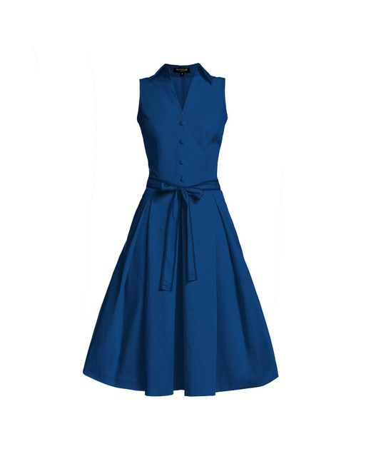 Rumour London - Blue Venice Navy Satin Cotton Belted Flared Dress - Lyst