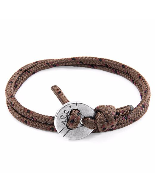 Anchor & Crew - Light Brown Dundee Silver & Leather Bracelet for Men - Lyst