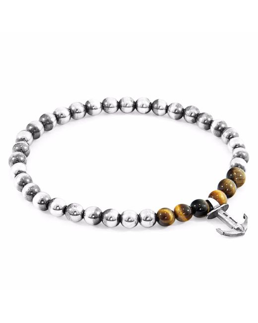 Anchor & Crew | Multicolor Brown Tigers Eye Keel Silver & Stone Bracelet for Men | Lyst