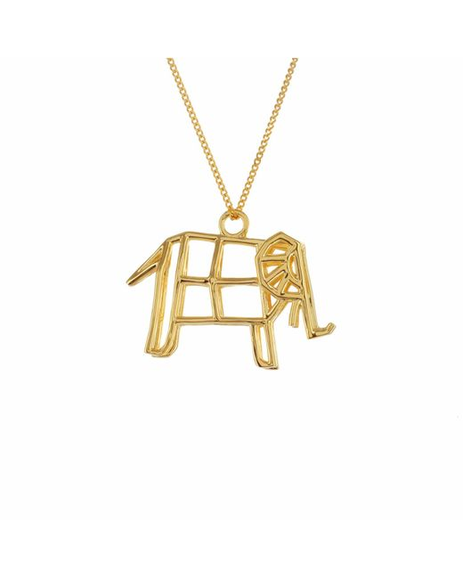 Origami Jewellery - Metallic Sterling Silver & Gold Frame Elephant Origami Necklace - Lyst